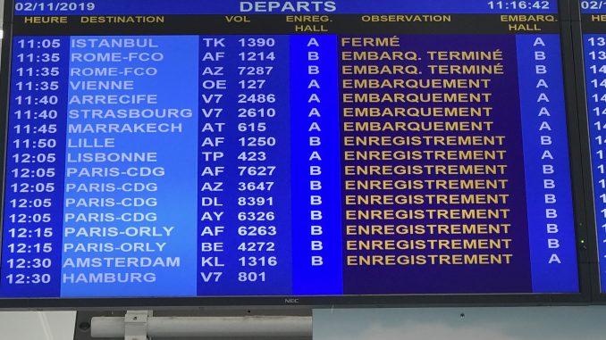 Panneau d'information aéroport